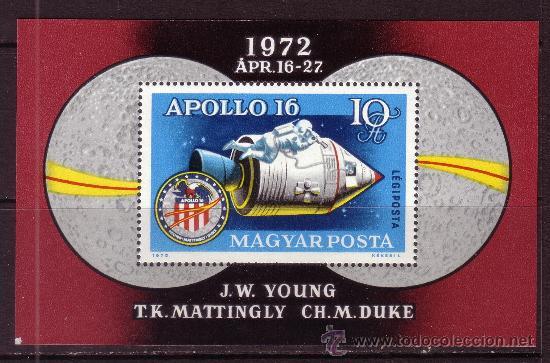 HUNGRIA HB 99*** - AÑO 1972 - CONQUISTA DEL ESPACIO - APOLO 16 (Sellos - Temáticas - Conquista del Espacio)