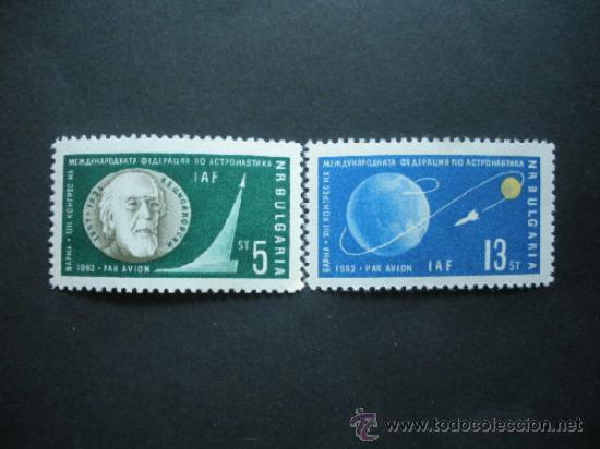 BULGARIA 1962 AEREO IVERT 91/2 *** 15º CONGRESO INTERNACIONAL ASTRONAUTICA - CONQUISTA DEL ESPACIO (Sellos - Temáticas - Conquista del Espacio)
