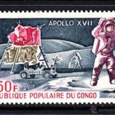 Sellos: CONGO AEREO 157** - AÑO 1973 - CONQUISTA DEL ESPACIO - APOLO XVII. Lote 45038458