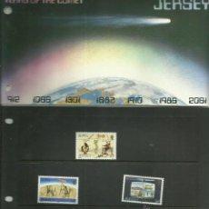 Sellos: JERSEY 1986- ESTUCHE PRESENTACION SELLOS CONQUISTA DEL ESPACIO- COMETA HALLEY. Lote 45164685