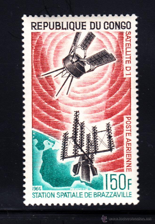 CONGO AEREO 39** - AÑO 1966 - CONQUISTA DEL ESPACIO - ESTACION ESPACIAL DE BRAZZAVILLE (Sellos - Temáticas - Conquista del Espacio)