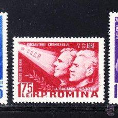 Sellos: RUMANIA AEREO 146/48** - AÑO 1961 - CONQUISTA DEL ESPACIO - 2º VUELO ESPACIAL SOVIETICO . Lote 53545827