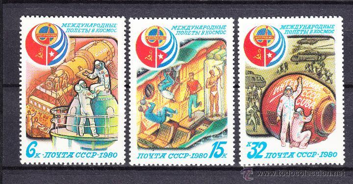 RUSIA 4733/35** - AÑO 1980 - CONQUISTA DEL ESPACIO - VUELO ESPACIAL SOVIÉTICO - CUBANO (Sellos - Temáticas - Conquista del Espacio)