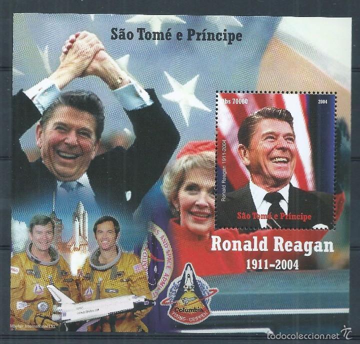 R9/ RONALD REAGAN, 1911-2004, SÄO TOMÉ E PRINCIPE, EN NUEVO** CON GOMA ORIGINAL (Sellos - Temáticas - Conquista del Espacio)