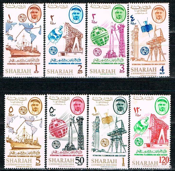 SHARJAH (EMIRATOS ARABES) 183/,90, SATELITES,CENTENARIO UNION INTERNACIONAL DE COMUNICACIONES, NUEVO (Sellos - Temáticas - Conquista del Espacio)