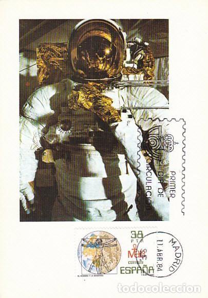 ºEDIFIL 2748, EL HOMBRE Y LA BIOSFERA, TARJETA MAXIMA DE PRIMER DIA DE 11-4-1984 (Sellos - Temáticas - Conquista del Espacio)