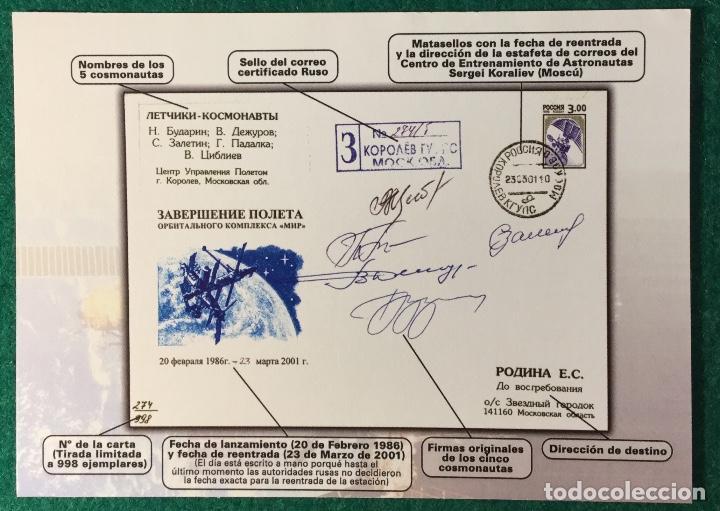 Sellos: Sobre Conmemorativo de la reentrada en la atmósfera de la Estación Espacial MIR - Foto 3 - 103209551