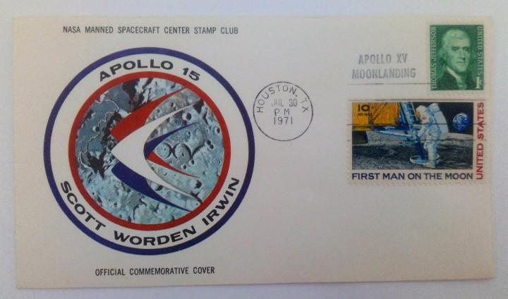 SOBRE FIRST MAN ON THE MOON APOLLO 15 ASTRONAUTAS: SCOTT WORDEN IRWIN SELLO T. JEFFERSON 1971 NASA (Sellos - Temáticas - Conquista del Espacio)