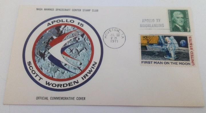 Sellos: SOBRE FIRST MAN ON THE MOON APOLLO 15 ASTRONAUTAS: SCOTT WORDEN IRWIN SELLO T. JEFFERSON 1971 NASA - Foto 2 - 103935935