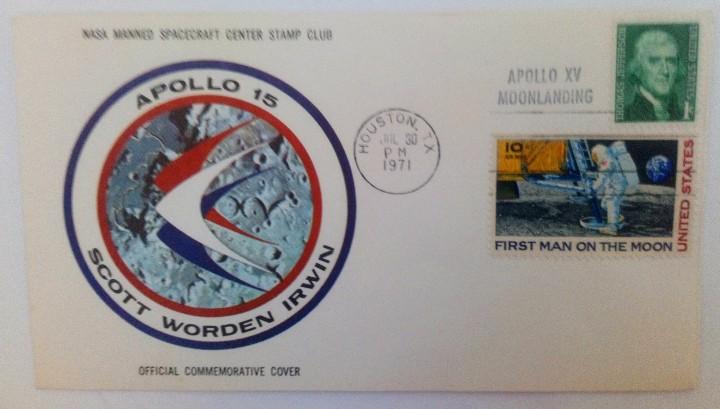 Sellos: SOBRE FIRST MAN ON THE MOON APOLLO 15 ASTRONAUTAS: SCOTT WORDEN IRWIN SELLO T. JEFFERSON 1971 NASA - Foto 4 - 103935935