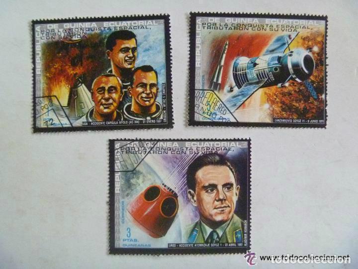 LOTE DE 3 SELLOS DE GUINEA ECUATORIAL : ASTRONAUTAS MUERTOS (Sellos - Temáticas - Conquista del Espacio)