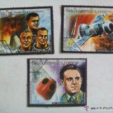 Sellos: LOTE DE 3 SELLOS DE GUINEA ECUATORIAL : ASTRONAUTAS MUERTOS. Lote 109117187