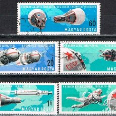 Sellos: HUNGRIA Nº 2322, CONQUISTAS ESPACIALES, VOSTOK IV, V Y VI, VODSHOD I Y II, ETC, USADO, SERIE CORTA. Lote 129643811