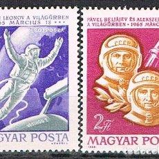 Sellos: HUNGRIA 2143/4, LANZAMIENTO DE VOSHOD II, P.BELIAJEV Y A.LEONOV CON LA VOSHOL II, NUEVO *** COMPLETA. Lote 129735559