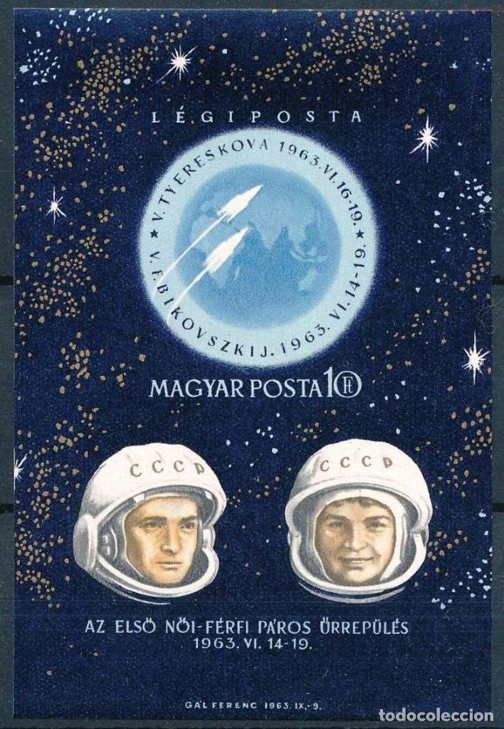 SELLO HUNGRIA 1963 Y& HB 44** SIN DENTAR ASTRONAUTAS VALERI BYKOVSKI Y VALENTINA TERESHKOVA (Sellos - Temáticas - Conquista del Espacio)