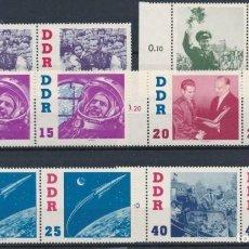 Sellos: SELLOS DDR 1961 Y&T 576/81** VOSTOK 2 TITOV EN BLOQUES DE 2. Lote 134153026
