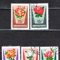 Sellos: HUNGRIA Nº 1879/83, ROSAS, USADO (SERIE CORTA, 5 SELLOS). Lote 135708275