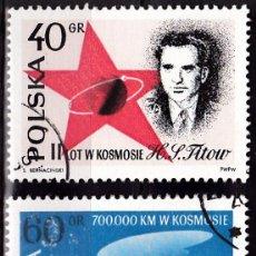 Sellos: 1961 - POLONIA - COSMONAUTA TITOV / VOSTOK 2 - YVERT 1120,1121 - SERIE COMPLETA. Lote 144194922