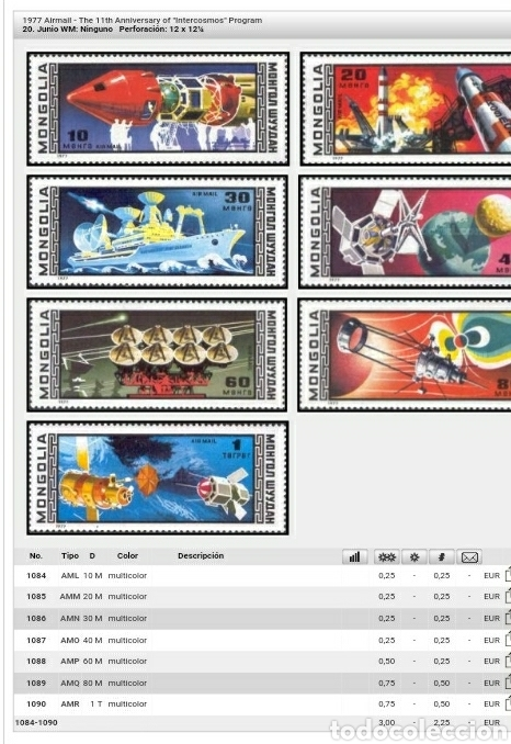 Sellos: Sellos R. Mongolia nuevos/1977/11 Aniv. del programa intercosmos/espacio/satelite/naves/astronautas/ - Foto 2 - 145429342