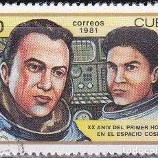 Sellos: 1981 - CUBA - XX ANIV. 1º HOMBRE EN EL COSMOS - RYUMIN SALYUT-6 / POPOV SOYUZ 35 - YVERT 2261. Lote 148749942