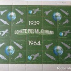 Sellos: CUBA. COHETE POSTAL CUBANO. 1939 1964. BLOQUE 25 SELLOS 1 CENTAVO. HOJA COMPLETA NUEVA, SIN USO. Lote 149404026