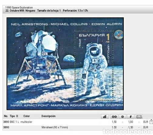 Sellos: HB (Dentada) R. Bulgaria mtda/1990/Exploracion espacio/Armrstrong/luna/soyuz/apollo/astros/cosmos/na - Foto 2 - 194343112