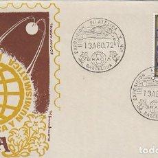 Sellos: AÑO 1972, NAVE ESPACIAL, EXPOSICION DE GRACIA, SOBRE DE LA EXPOSICION AMARILLO. Lote 162777394