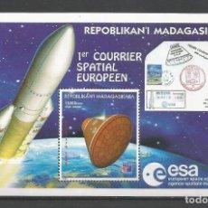 Sellos: SELLOS MADAGASCAR AÑO 1999. 1º CORREO ESPACIAL EUROPEO-PHILEX FRANCE'99 HOJA BLOQUE NUEVA. Lote 172586383