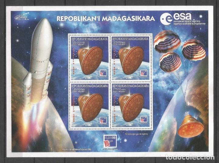 SELLOS MADAGASCAR AÑO 1999. AGENCIA ESPACIAL EUROPEA-PHILEX FRANCE'99 HOJA BLOQUE NUEVA (Sellos - Temáticas - Conquista del Espacio)