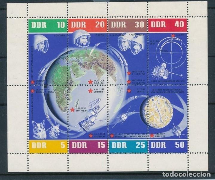 SELLOS ALEMANIA ORIENTAL DDR 1962 HB-12** ANIVERSARIO VUELOS ESPACIALES SOVIETICOS (Sellos - Temáticas - Conquista del Espacio)