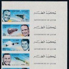 Sellos: QATAR 1966 ASTRONAUTAS AMERICANOS HOJA SIN DENTAR. Lote 195527396