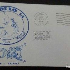 Sellos: SOBRE DE SELLO DEL APOLO 14. MÓDULO D MANDO KITTY HAWK DEL ANTARES. 1971 NASA ASTROFILATELIA. Lote 198539493