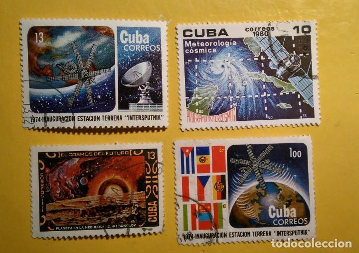 CUBA - EL ESPACIO - LOTE DE 4 SELLOS. (Sellos - Temáticas - Conquista del Espacio)
