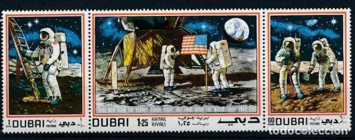 SELLOS DUBAI 1969 TRIPTICO APOLLO XI EL HOMBRE EN LA LUNA (Sellos - Temáticas - Conquista del Espacio)