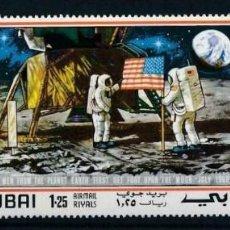 Sellos: SELLOS DUBAI 1969 TRIPTICO APOLLO XI EL HOMBRE EN LA LUNA. Lote 203045362