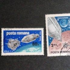 Sellos: ASTRONOMIA VUELOS APOLO 9 Y 10 RUMANÍA YVERT AEREO 219/0. Lote 210227747