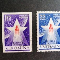 Francobolli: ASTRONOMIA VUELO LUNAR IV RUMANÍA 1963 YVERT 173/4. Lote 210228360