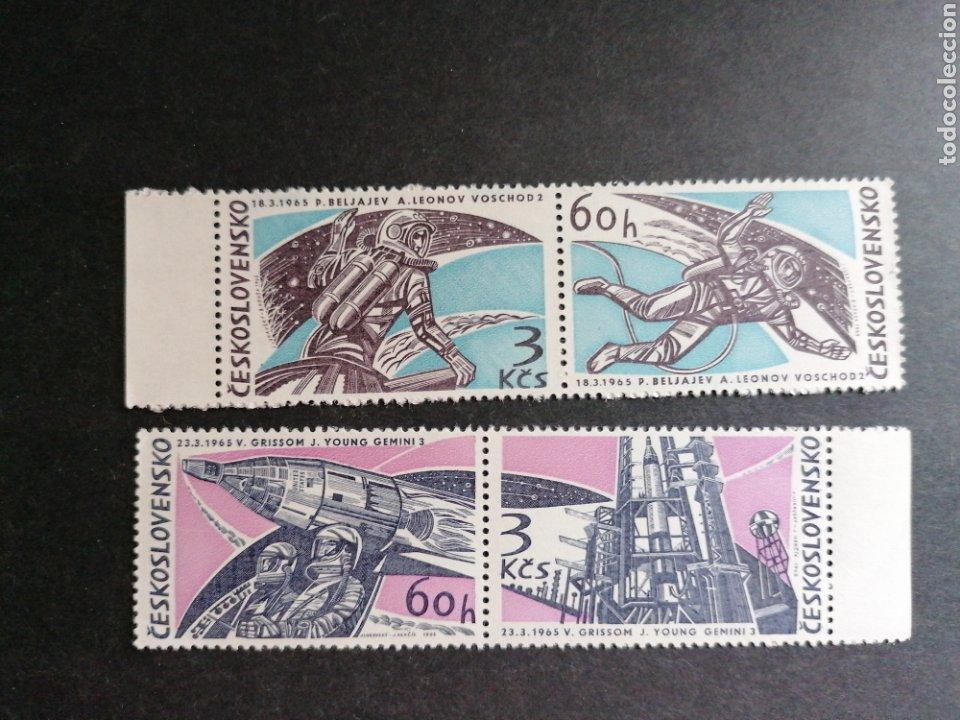 ASTRONOMIA VUELOS ESPACIALES CHECOSLOVAQUIA 1965 YVERT 1395/8 NUEVO (Sellos - Temáticas - Conquista del Espacio)