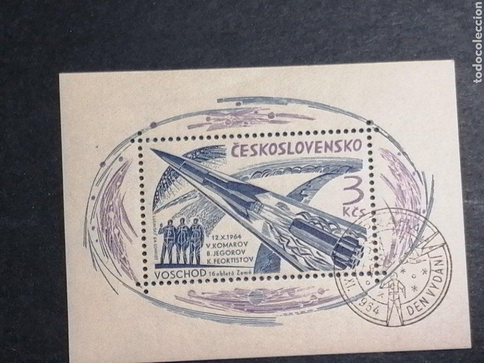 ASTRONOMIA VUELO VOLSKHOD 1 CHECOSLOVAQUIA 1964 MATASELLOS ESPECIAL (Sellos - Temáticas - Conquista del Espacio)