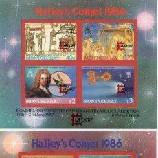 Sellos: MONSERRAT/1986/MNH/SC#656-657/ COMETA HALLEY / CAPEX 87 / SPACE / ASTRONOMIA/ SOBREIMPRESO. Lote 215577857