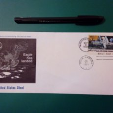 Sellos: EAGLE HAS LANDED - UNITED STATES STEEL - FIRST DAY OF ISSUE (9-9-1969) WASHINGTON - MOON LANDING. Lote 232858740