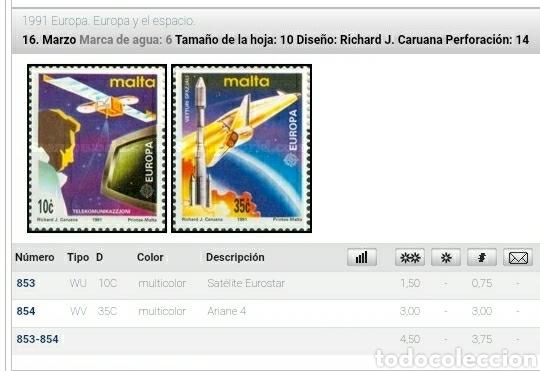 Sellos: Sellos Malta nuevos/1991/europa/CEPT/espacio/lanzadera/cohetes/nave/satelite/television/paneta/cosmo - Foto 2 - 234538565