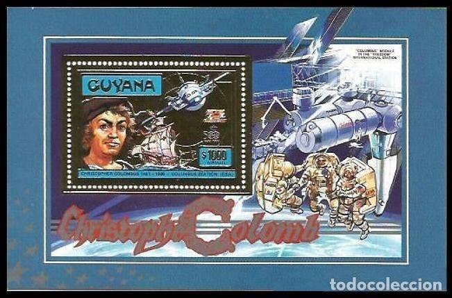 GUYANA 1992 COLON Y ESTACION ESPACIAL INTERNACIONAL (Sellos - Temáticas - Conquista del Espacio)