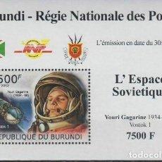Sellos: BURUNDI 2012 HOJA BLOQUE SELLOS CONQUISTA DEL ESPACIO ASTRONAUTAS SOVIETICOS YOURI GAGARINE. Lote 235377080