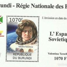 Sellos: BURUNDI 2012 HOJA BLOQUE SELLOS CONQUISTA DEL ESPACIO ASTRONAUTAS SOVIETICOS VALENTINA TERECHKOVA. Lote 235379465