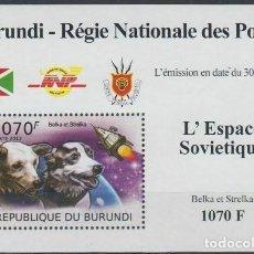 Sellos: BURUNDI 2012 HOJA BLOQUE SELLOS CONQUISTA DEL ESPACIO ASTRONAUTAS SOVIETICOS BELKA Y STRELKA. Lote 235379640