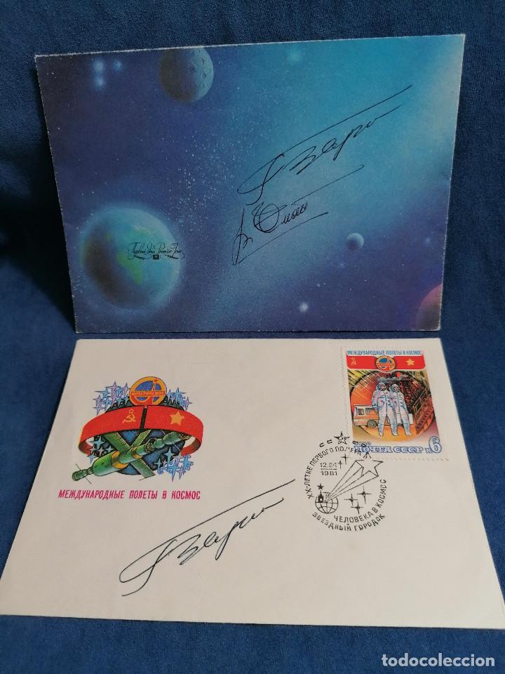 ASTRONOMIA RUSIA AÑO 1981 SOBRE CON FIRMA DE ASTRONAUTA (Sellos - Temáticas - Conquista del Espacio)