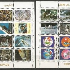 Sellos: UMM AL QIWAIN - 1973 - 2 BLOQUES DE CADA 16 SELLOS DE HISTORIA DEL ESPACIO - SELLADO. Lote 236421005