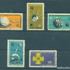 Sellos: CUBA 1965 THE 100TH ANNIVERSARY OF I.T.U U - SPACE, COMMUNICATION, SPACESHIPS. Lote 241339570