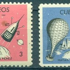 Sellos: CUBA 1965 MATIAS PEREZ COMMEMORATION MNH - SPACE, BALLOONS, ROCKETS, SPACESHIPS. Lote 241339585